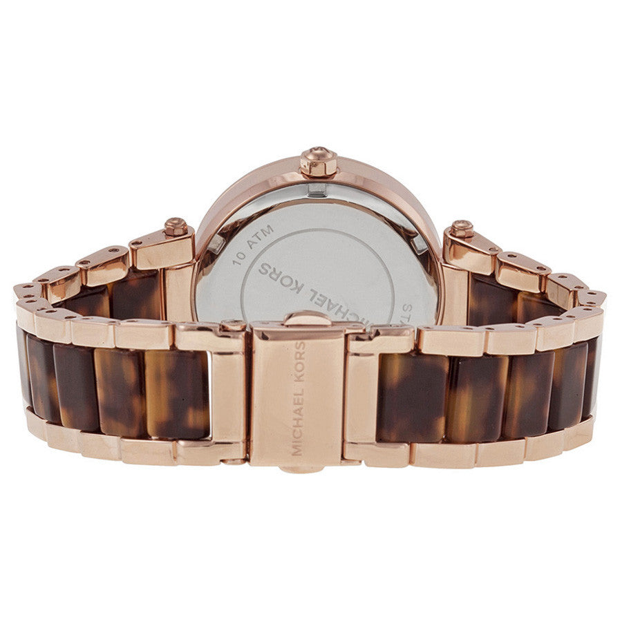 Multi-Function Rose Dial Rose Gold-tone and Tortoise-shell Ladies Watch