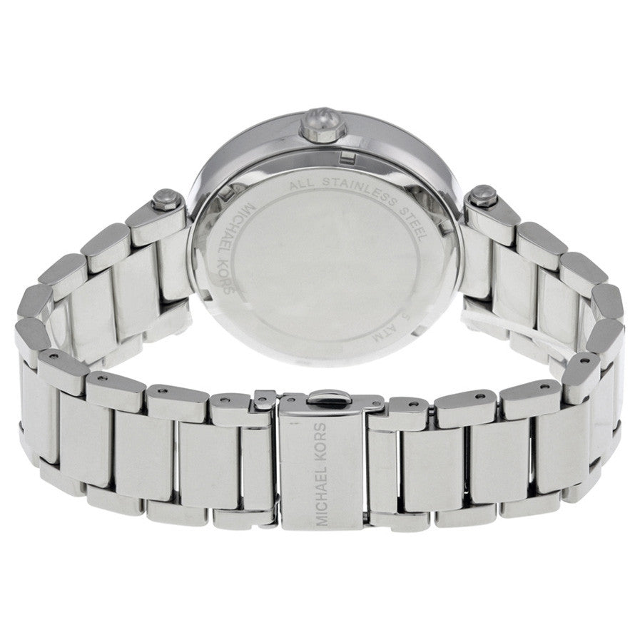 Parker Silver Crystal Pave Dial Stainless Steel Ladies Watch