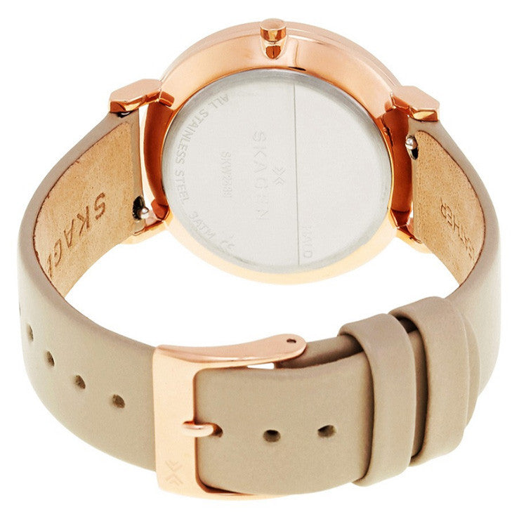 Hald White Dial Ladies Beige Leather Watch