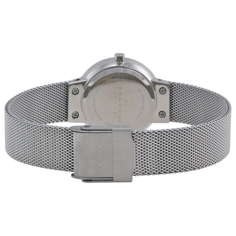 Silver Dial Stainless Steel Mesh Ladies Watch
