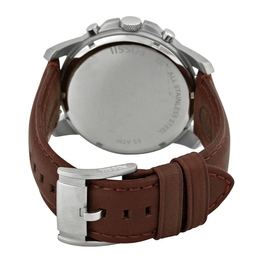 Grant Chronograph Egg Shell Dial Brown Leather Men's Watch