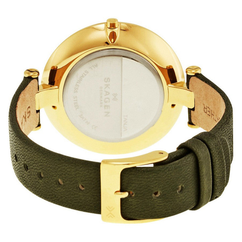 Tanja Silver Dial Olive Green Leather Ladies Watch