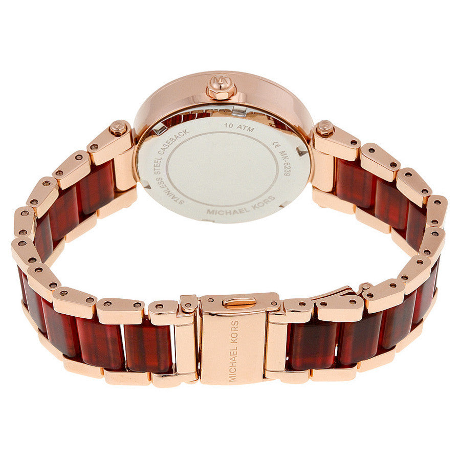 Mini Parker Multi-Function Rose Dial Rose Gold-plated and Amber Tortoise-shell Acetate Ladies Watch