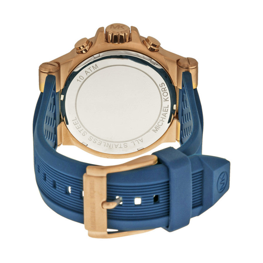3a563d02c508 Michael Kors MK8295 Dylan Navy Dial Rose Gold-tone Navy Silicone ...