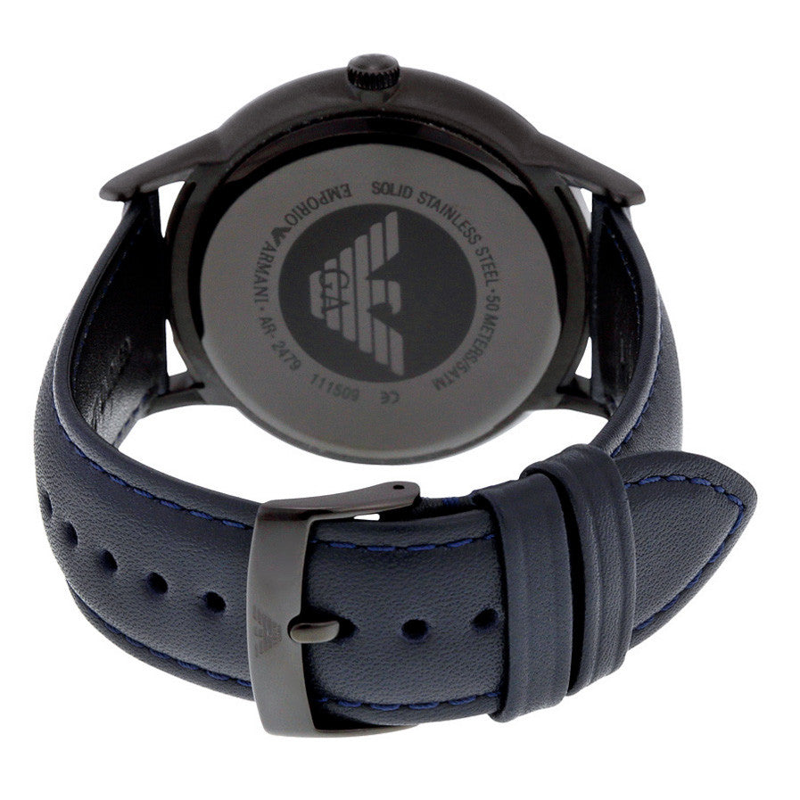 ad3fd54359 Chronograph Black Dial Blue Leather Men's Watch