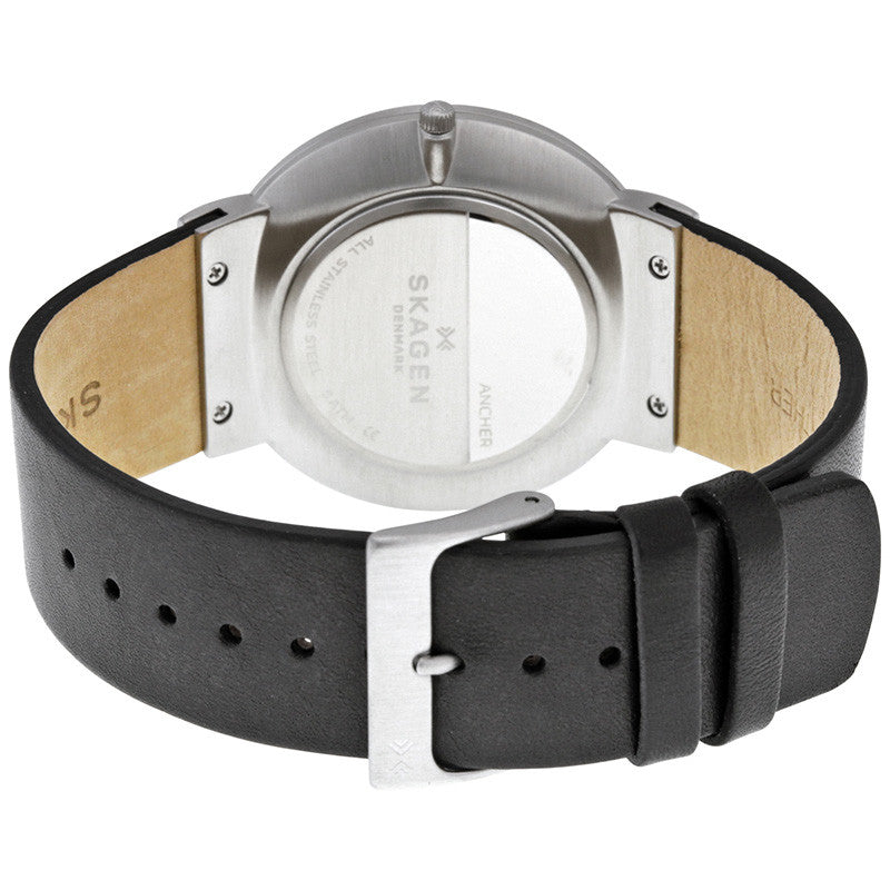 Ancher Black Dial Leather Men's Watch