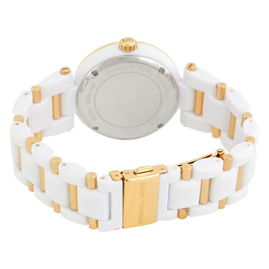 Delray Pave White Acetate and Gold-Tone Ladies Watch