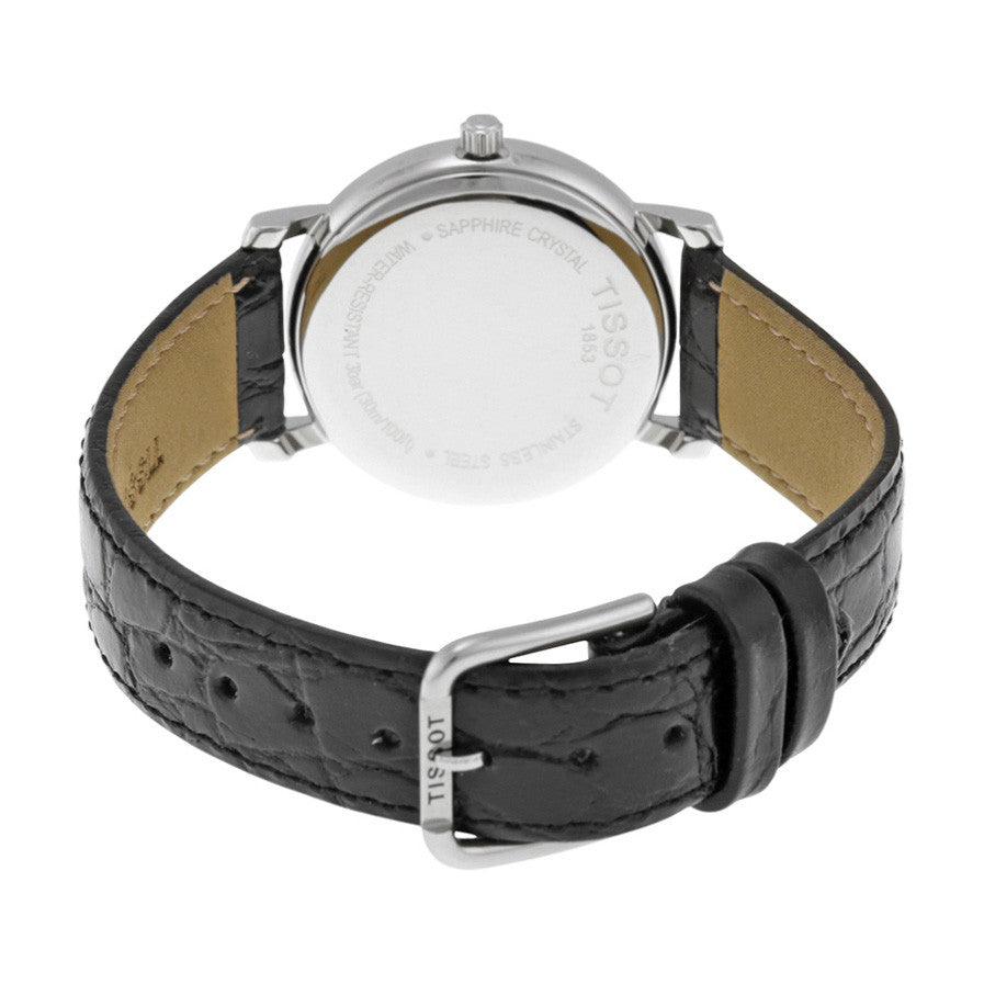 Desire White Dial Black Leather Ladies Watch
