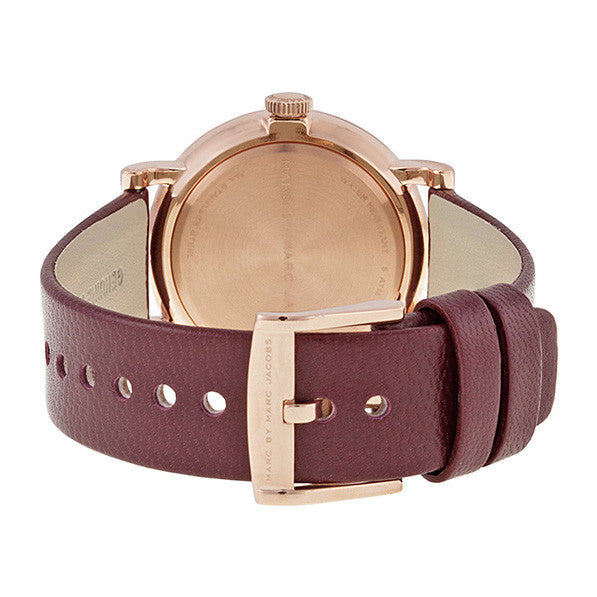 Baker Maroon Dial Maroon Leather Ladies Watch