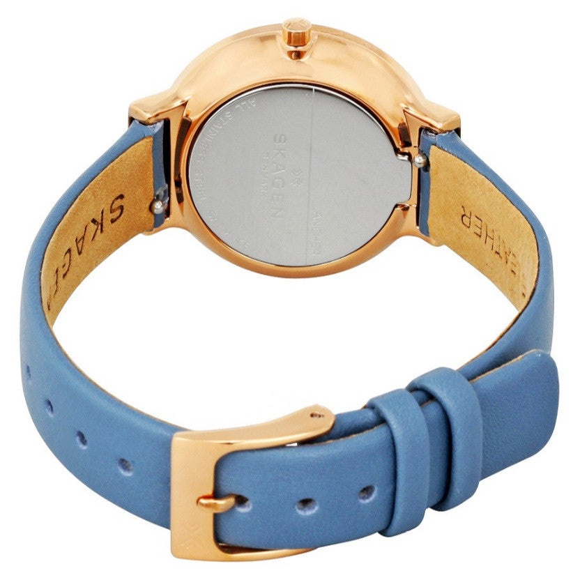 Ancher White Dial Ladies Blue Leather Watch