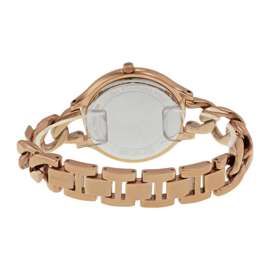 Slim Runway Twist Rose Dial Rose Gold-tone Ladies Watch