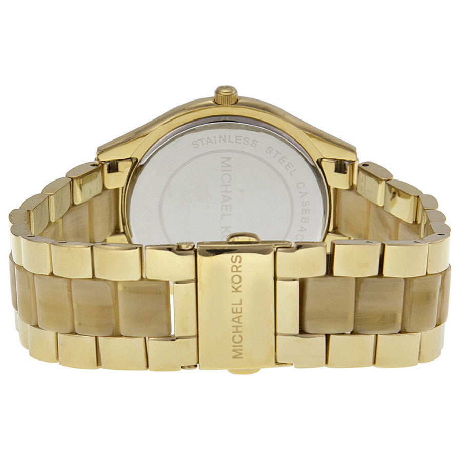 Slim Runway Gold Dial Gold-tone and Milky Horn Ladies Watch