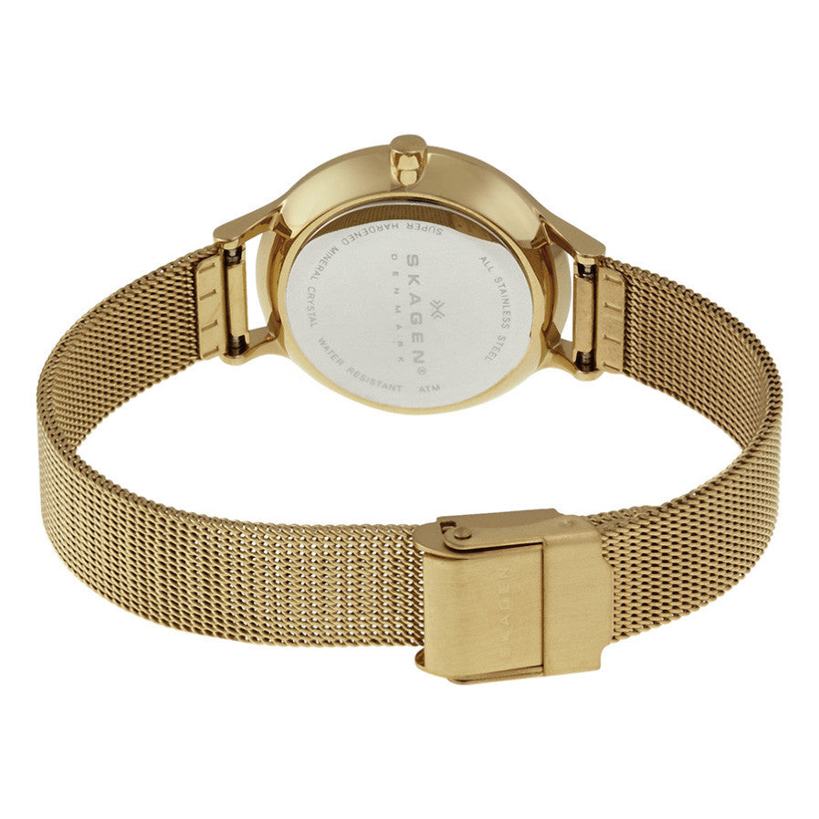 Anita Silver Dial Gold-tone Mesh Ladies Watch