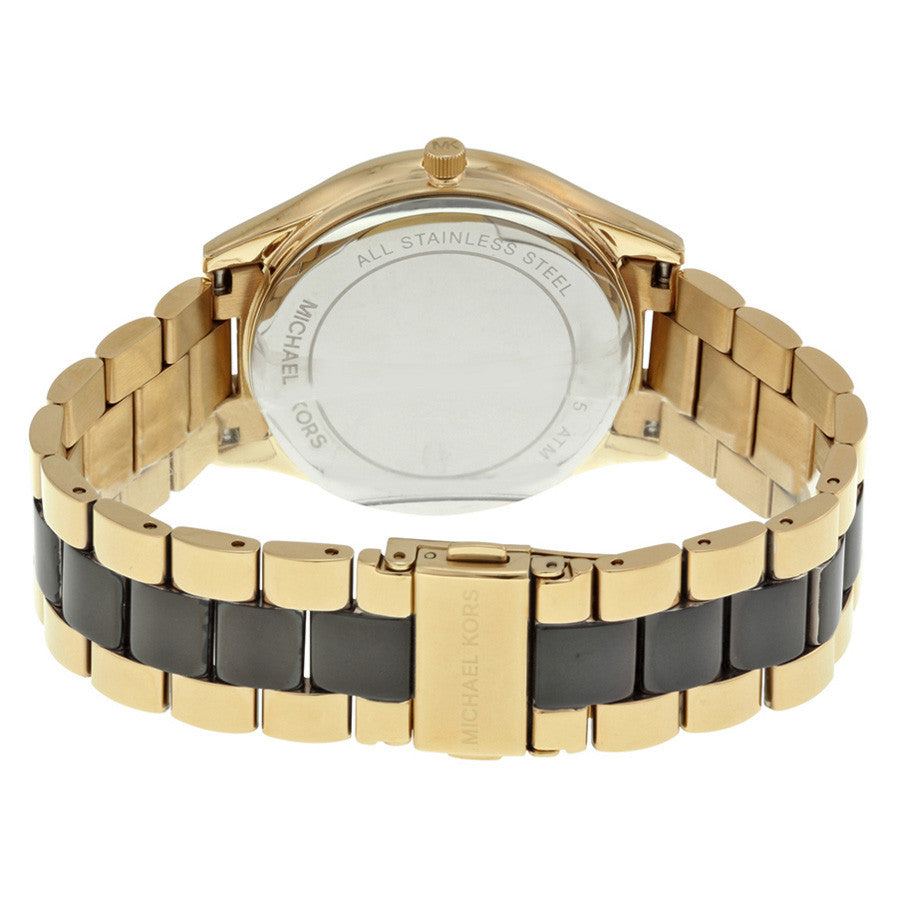 Slim Runway Zebra-pattern Crystal Pave Dial Two-tone Ladies Watch