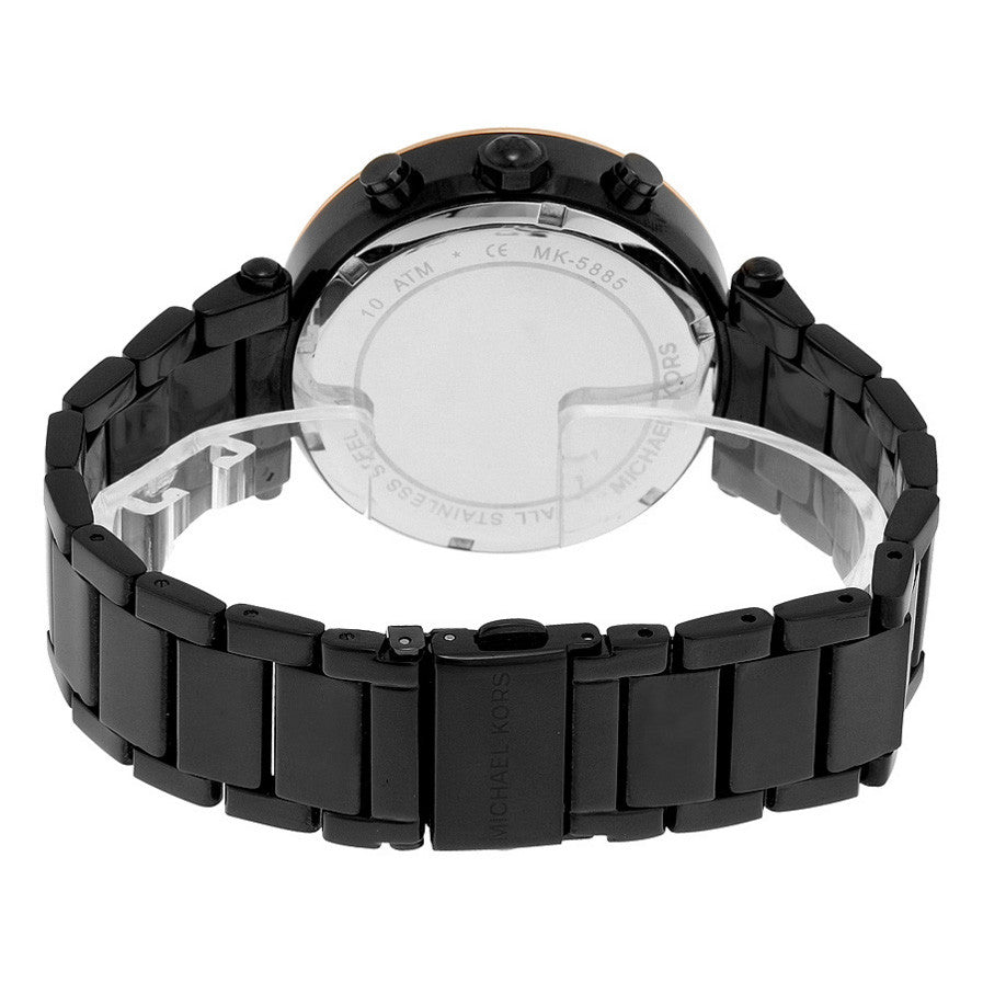 Parker Chronograph Black Dial Black Ion-plated Ladies Watch