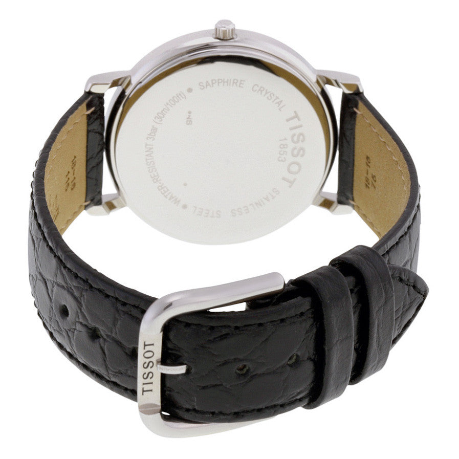 T-Classic White Dial Black Leather Men's Watch