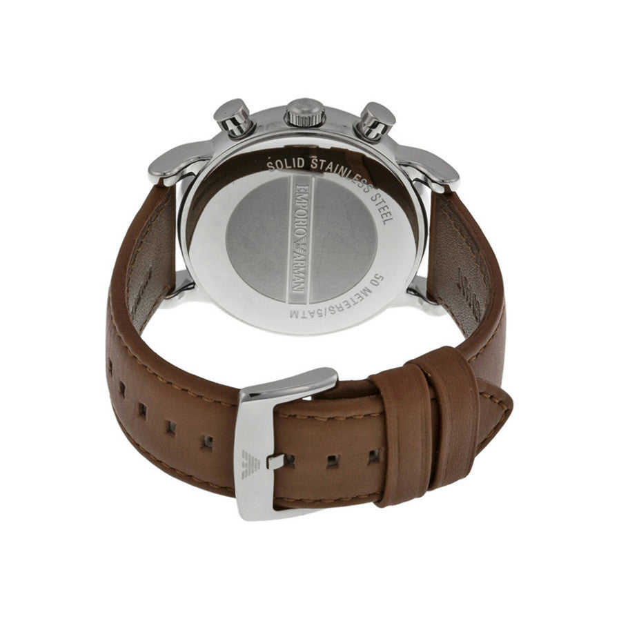 Chronograph White Dial Brown Leather Men's Watch