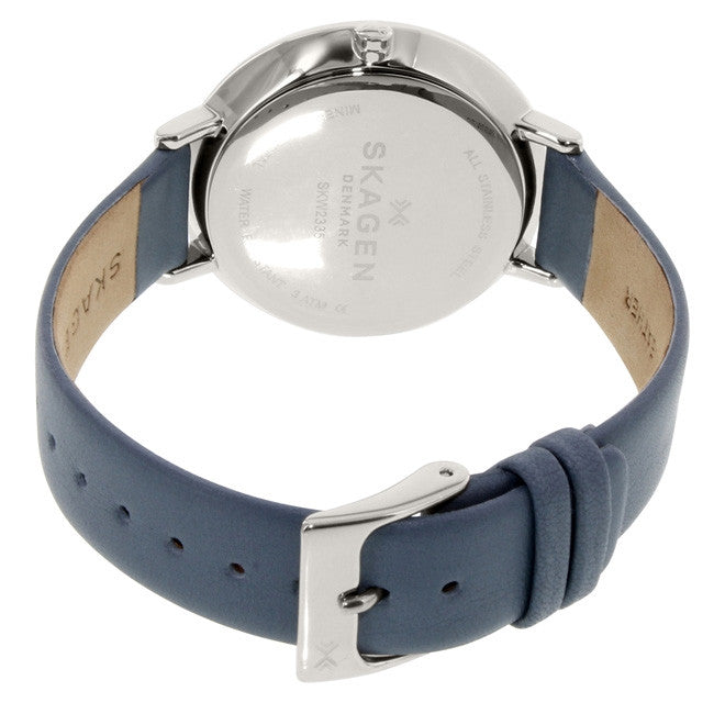 Ditte White Dial Blue Leather Ladies Watch