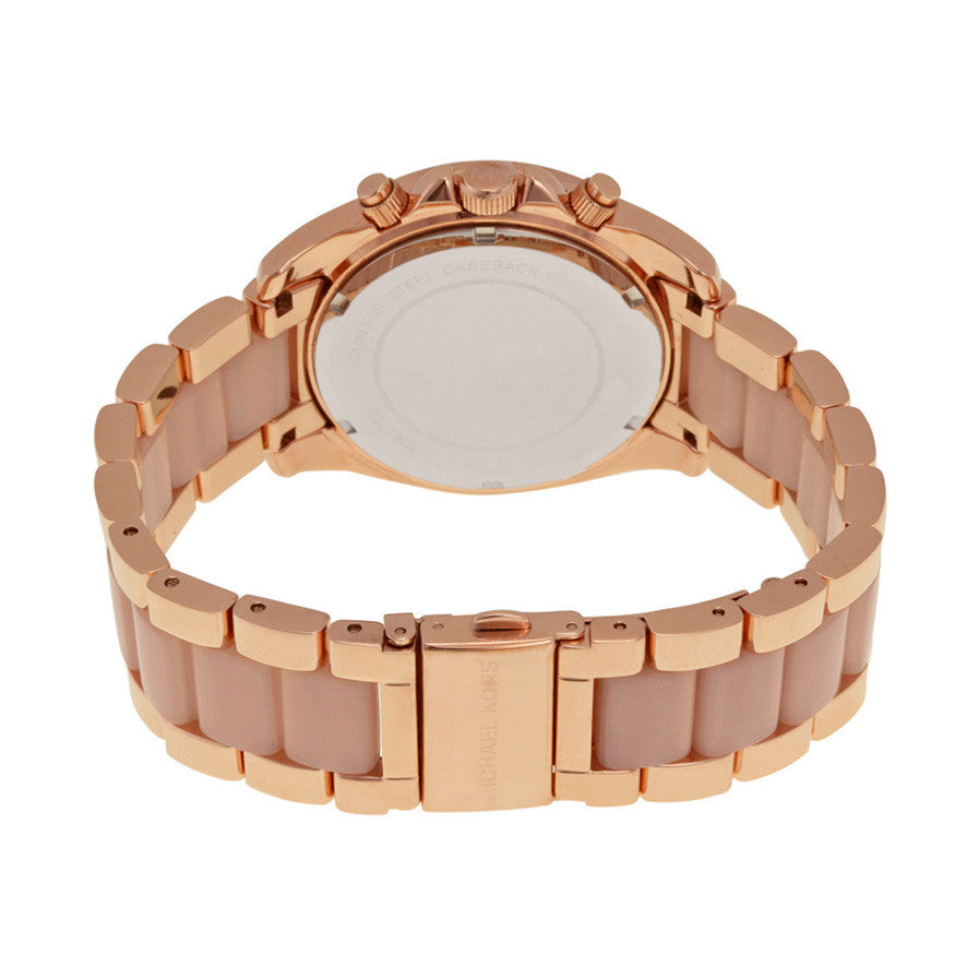 Blair Chronograph Rose Dial Rose Gold-tone and Acetate Ladies Watch