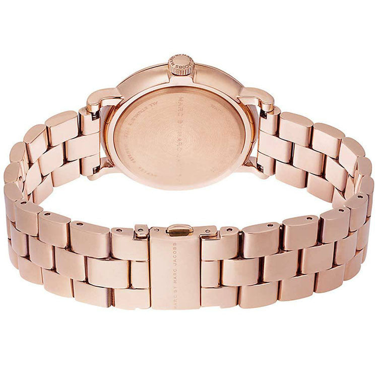 Baker Navy Dial Rose Gold-tone Steel Ladies Watch