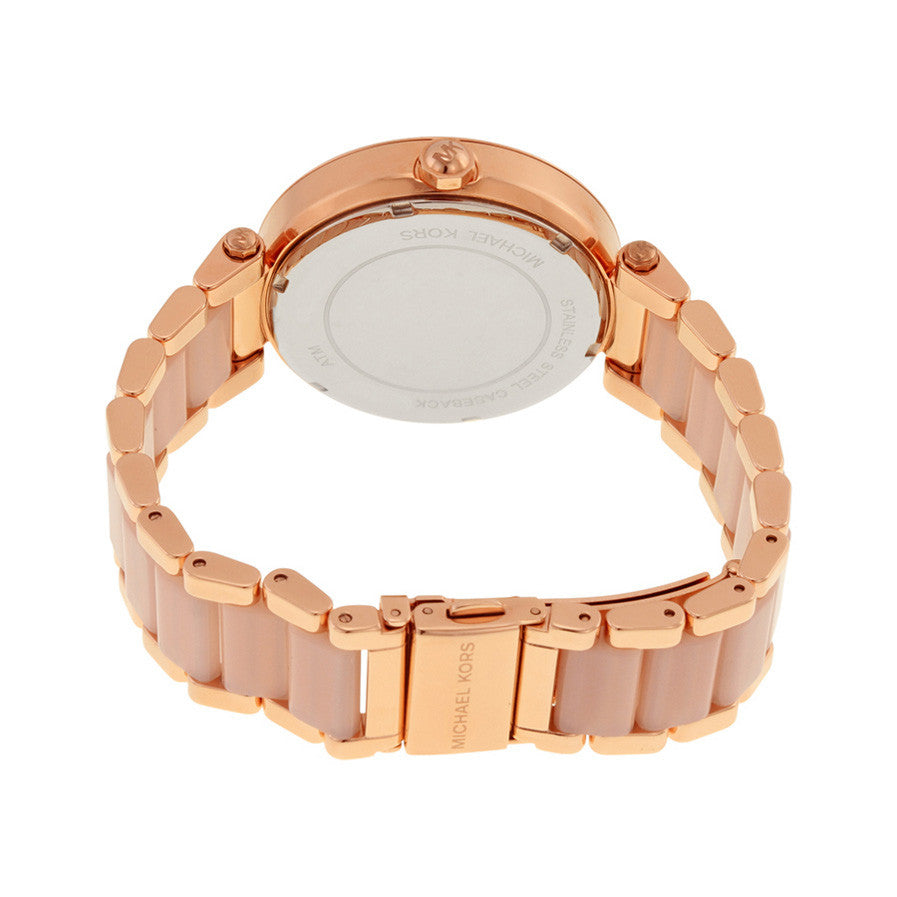 Parker Crystal Pave Logo Dial Rose Gold-tone Ladies Watch