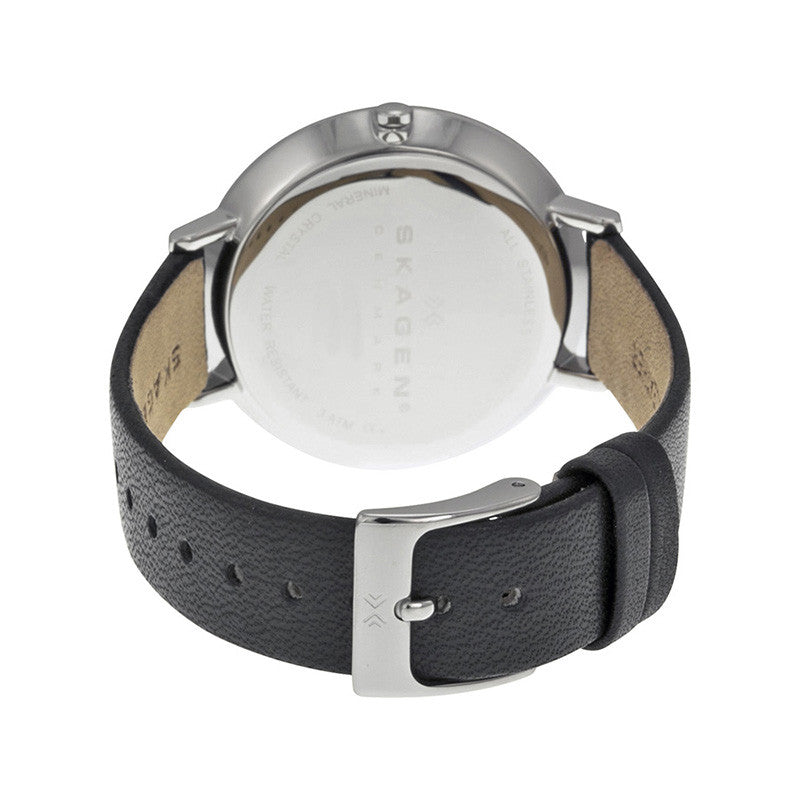 Ditte Silver Dial Black Leather Ladies Watch