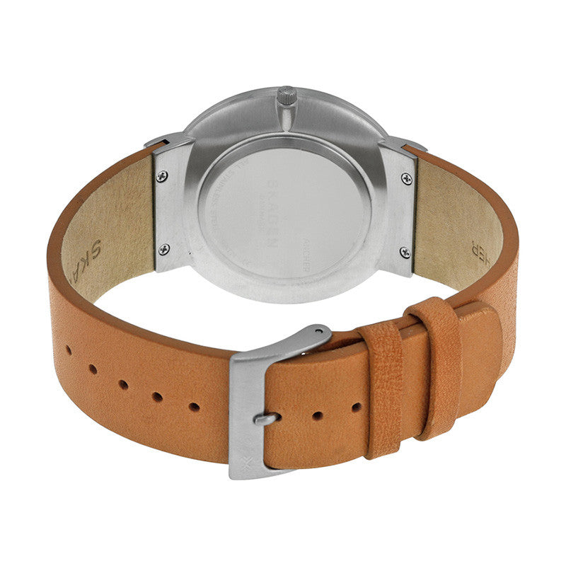 Ancher Grey Sandblast Dial Leather Men's Watch