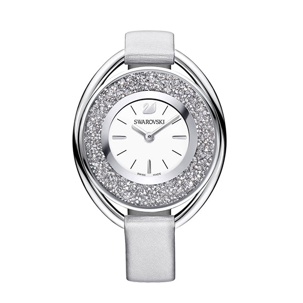 Crystalline Silver Dial Silver Leather Strap Ladies Watch