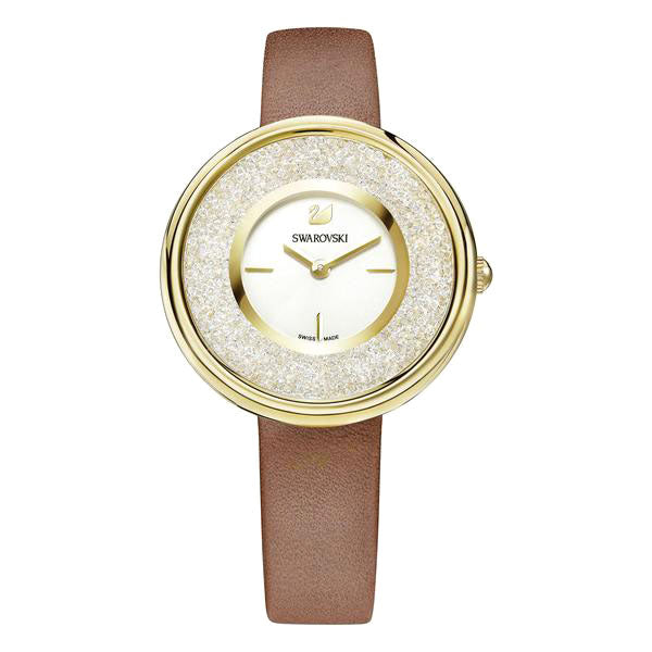 Crystalline White Silver Tone Sunray Dial Brown Leather Strap Ladies Watch