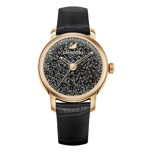 Crystalline Hours Black Strap Ladies' Watch