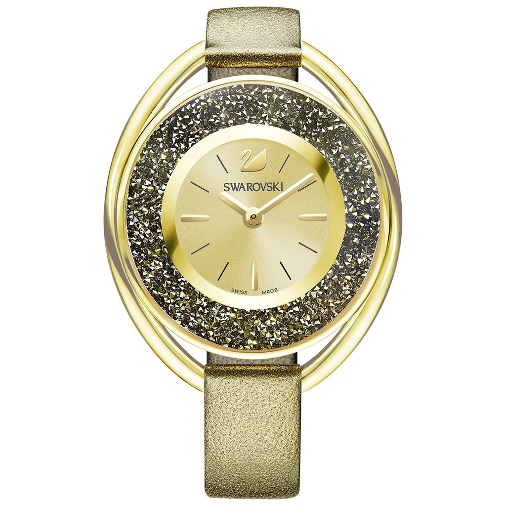 Crystalline Gold Dial Golden Leather Strap Ladies Watch