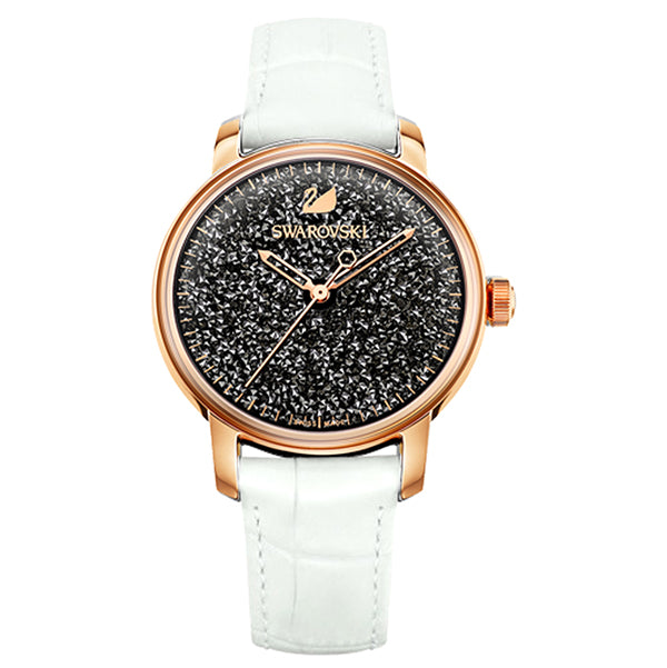 Crystalline Hours White Leather Strap Ladies' Watch