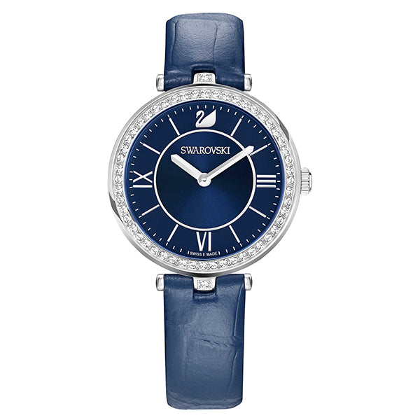 Aila Dressy Blue Sunray Dial With Crystal-paved Bezel Ladies Watch