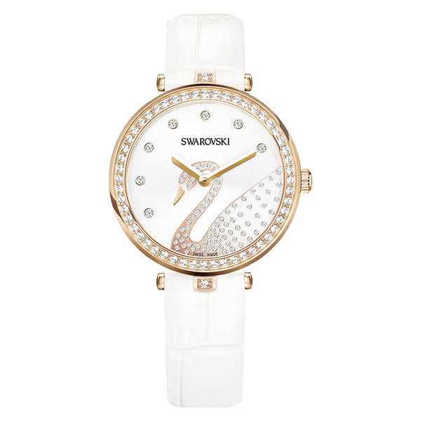 Aila Dressy Lady Swan Crystal-paved Bezel Ladies Watch