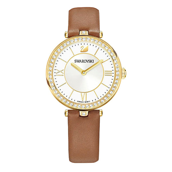 Aila Dressy White Silver Tone Sunray Dial With Crystal-paved Bezel Ladies Watch