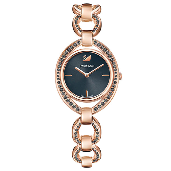 Stella Dark Gray Sunray Dial Rose Gold-Tone Chain Stainless Steel Bracelet Embellished with Sparkling Clear Crystal Pave Ladies Watch