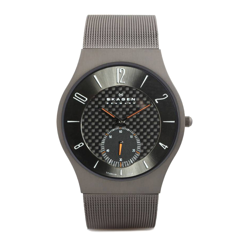 Black Carbon Fibre Dial Titanium Mesh Bracelet Men's Watch