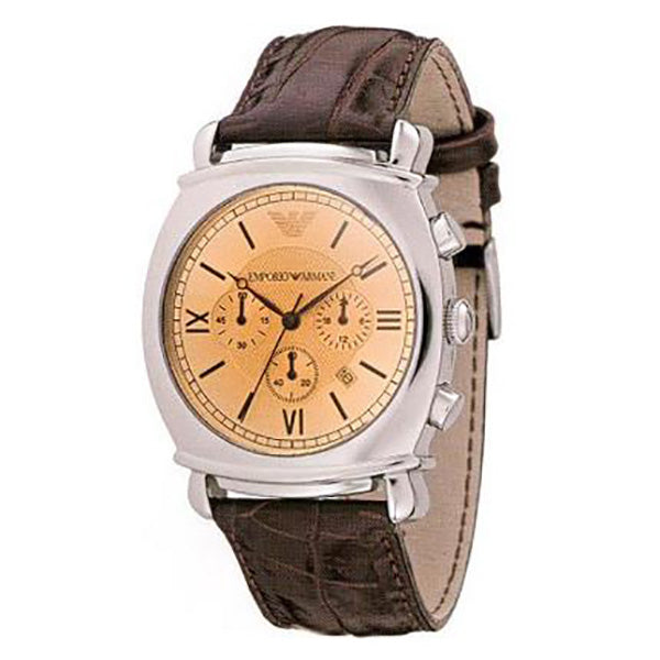 Chronograph Brown Dial Brown Leather Men's Watch