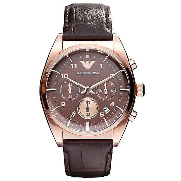 Chronograph Brown Dial Rose Gold Men's Watch