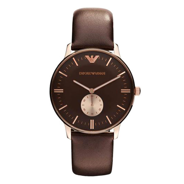 Classic Brown Dial Brown Leather Men's Watch