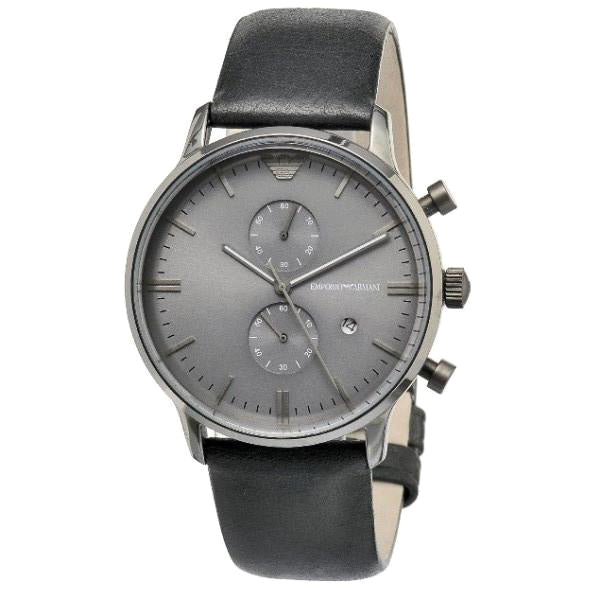 Emporio Classic Chronograph Grey Dial Black Leather Men's Watch