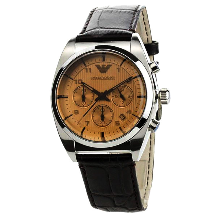 Chronograph Brown Dial Black Leather Men's Watch