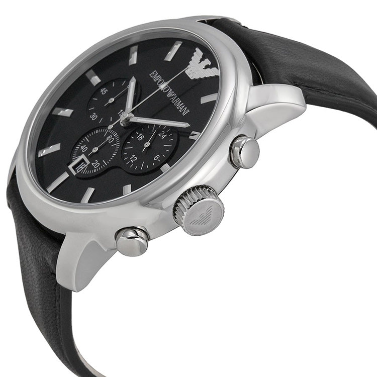 Classic Chronograph Black Dial Black Leather Men's Watch