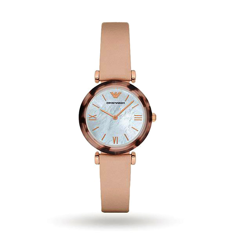 Gianni T-Bar Mother Of Pearl Dial Beige Leather Ladies Watch