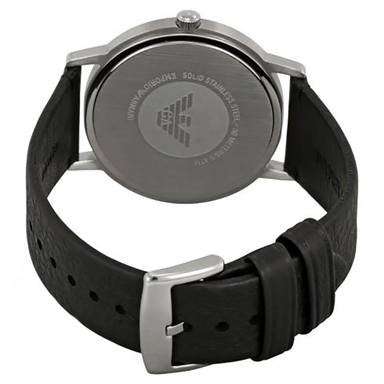 Black Dial Men's Leather Watch