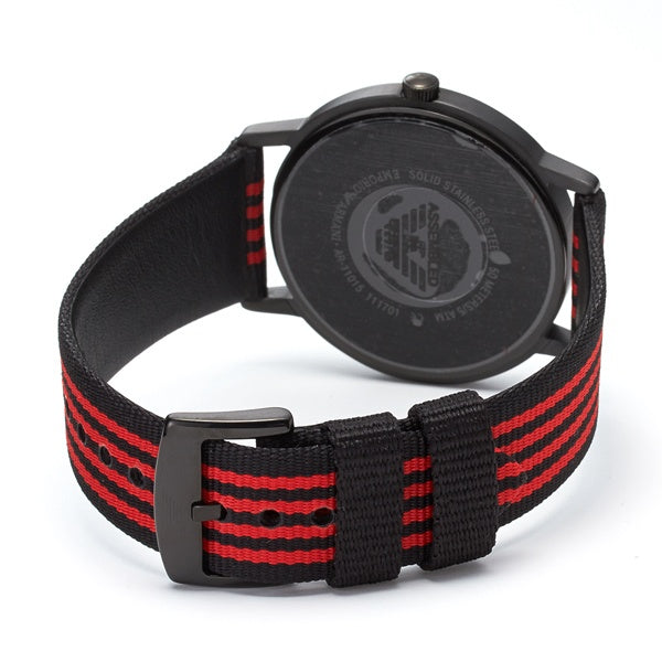 Black Dial Black And Red Striped Fabric Strap Men's Watch