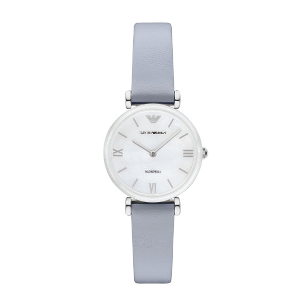 Retro Mother Of Pearl Dial Pastel Blue Leather Ladies Watch