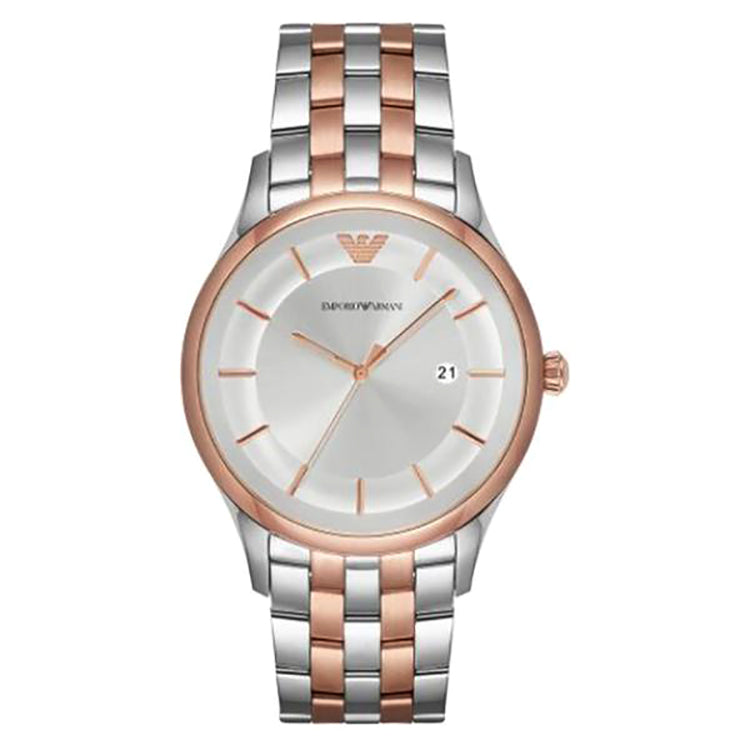 Lambda Silver Dial Men's Two Tone Watch