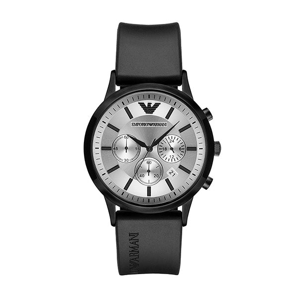 Classic Black Rubber Strap Men's Watch