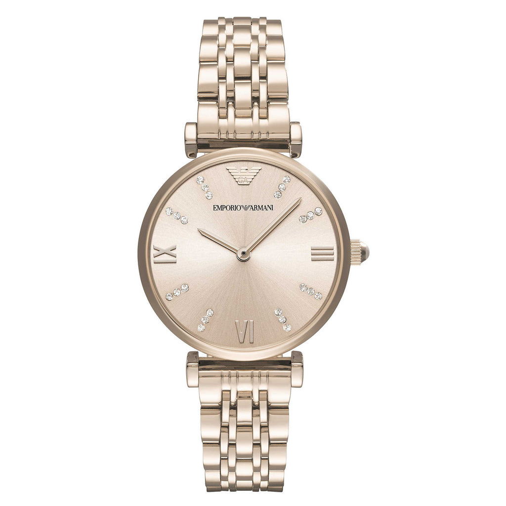 Armani Silvery Rose Gold Dial Pale Pink Stainless Steel Ladies Watch